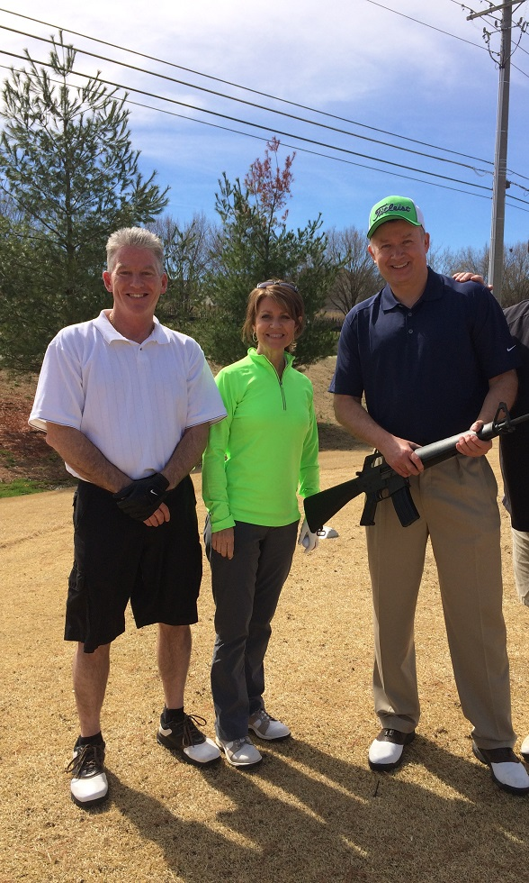 MTPS and ETPS employees Eddie Bloomer, Sherry Nix and Russ Spivey enjoy the Knoxville Sheriff Department's innovative shotgun golfing.