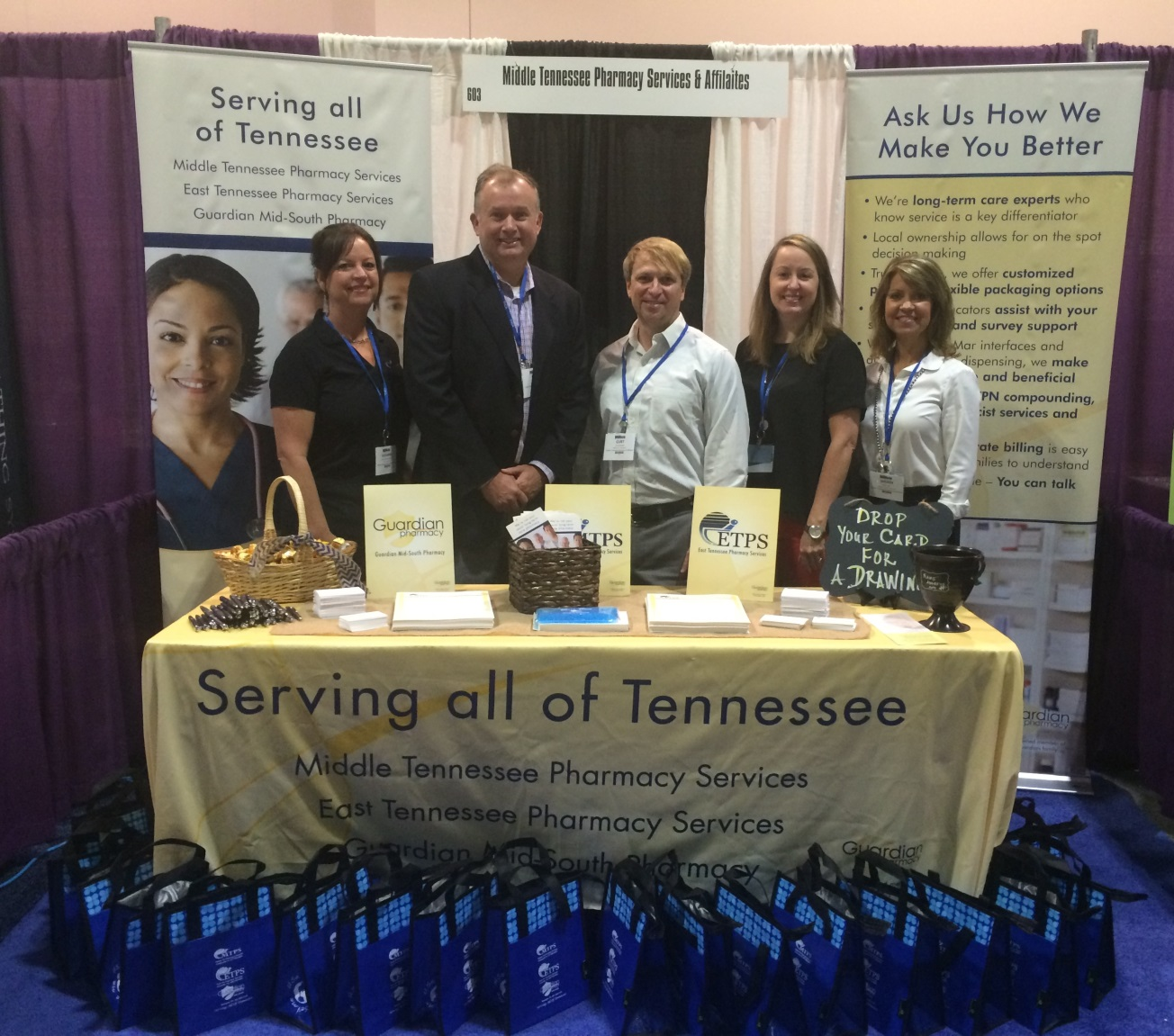 From l to r:  Hosanna Haughton, RN, nurse educator;  Russ Spivey, RPh,  co-owner;  Kurt Bicknell, BS PharmD, president of Guardian Mid-South; Whitney Lane, RN, nurse educator; and Sherry Nix, director of sales and marketing.